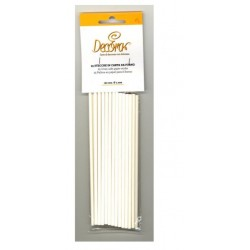 sticks - white - 25pcs - H 15 cm ø 4 mm - Decora