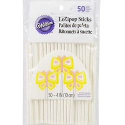bâtonnets - blanc - 50pcs - H 10 cm ø 4 mm - Wilton