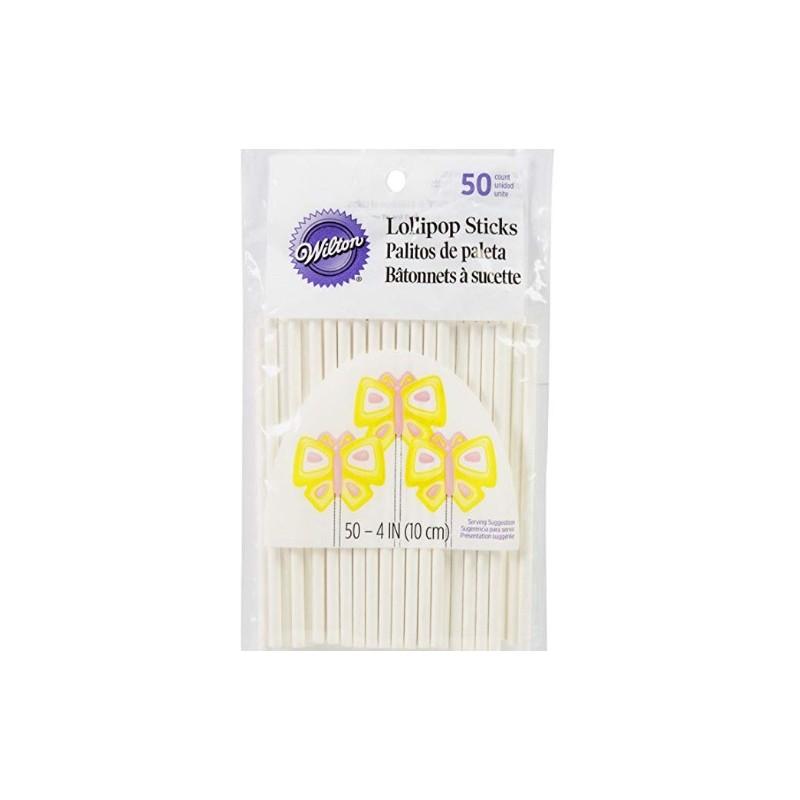 sticks - white - 50pcs - H 10 cm ø 4 mm - Wilton