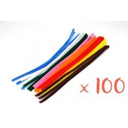 chenilles couleurs vives assorties - ø 6 mm - 30 cm - set de 100 pièces