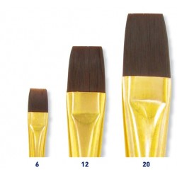 Set de 3 pinceaux plats à poils synthétiques : N° 6, 12 et 20