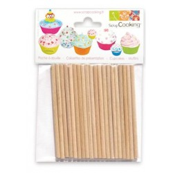 sticks - wood - 20pcs - H 9 cm ø 4 mm - ScrapCooking