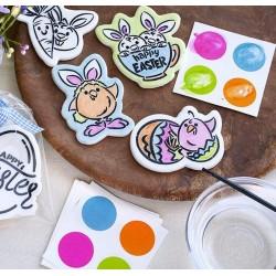 """PYO palette de peinture """"Pâques"""" - rose, vert clair, orange et bleu tendre - 12 pièces - Cookie Countess"""