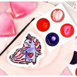 PYO  paint palettes Valentine's Day - red, purple, neon pink, muted pink - 12 pieces - Cookie Countess