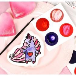 """PYO palette de peinture """"St-Valentin"""" - rouge, violet, rose néon, rose feutré - 12 pièces - Cookie Countess"""