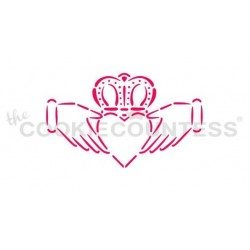 "stencil claddagh  - 3.25"" x 1.97"" - Cookie Countess"