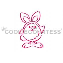 stencil poussin peluche en costume de lapin - 5.23 cm x 7.62 cm - Cookie Countess
