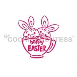 stencil twin bunnies in a teacup - Cookie Countess