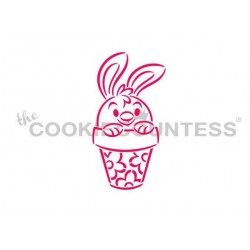 stencil lapin dans un pot - Cookie Countess