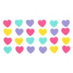 stickers cœurs en feutrine couleurs assorties - 1,8 x 1,7 cm - 24 pièces