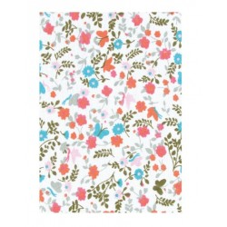 floral and coral self-adhesive fabric - 21 x 29.7 cm