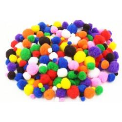 Pompons, couleurs vives - 1 - 2 - 2,5 et 3 cm - 48 pièces