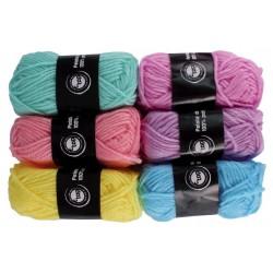pelotes de laine polyester - pastel - 6 pièces