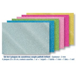 6 self-adhesive soft rubber plates, shiny glittery colors
