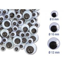 yeux mobiles noirs à coller - ø 8 mm, 1 cm et 1,2 cm - 116 pcs