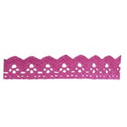 fuschia self-adhesive cotton lace ribbon