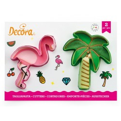 "set 2 cookie cutter ""flamingo and palm tree"" - Decora"