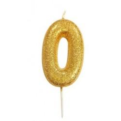 Bougie paillette dorée numéro O