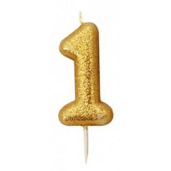 Bougie paillette dorée numéro 1