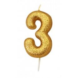Bougie paillette dorée numéro 3