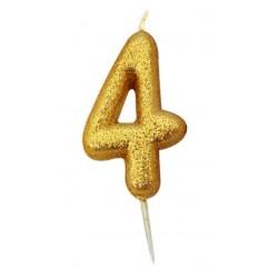 Bougie paillette dorée numéro 4
