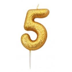 Bougie paillette dorée numéro 5