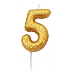 gold glitter number 5 candle