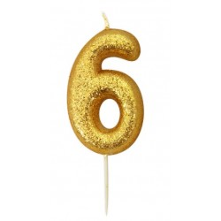 gold glitter number 6 candle