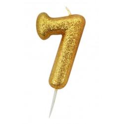 Bougie paillette dorée numéro 7