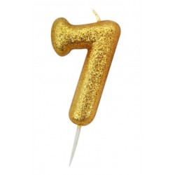gold glitter number 7 candle