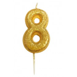 gold glitter number 8 candle