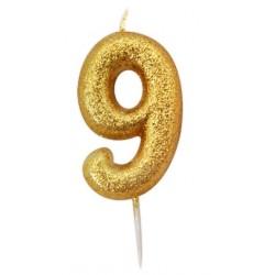 Bougie paillette dorée numéro 9