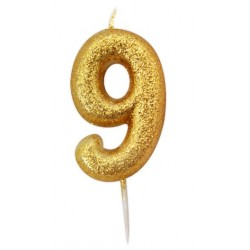 gold glitter number 9 candle