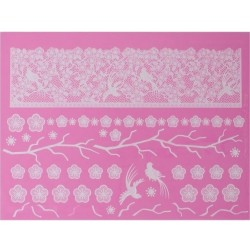 Oriental blossom & birds - 3D lace mat - Claire Bowman