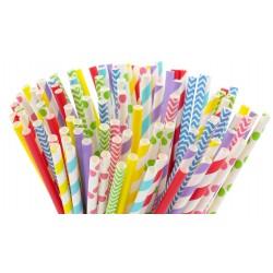 set de 100 pailles en carton - Ø 5 mm x 19,5 cm - couleurs vives