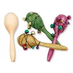 maracas made of natural wood - 20 cm