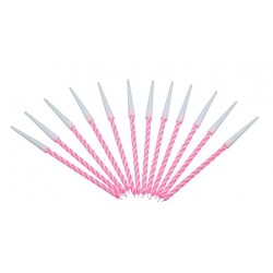 12 pink colored spiral candles