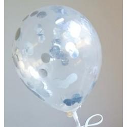 mini ballon confetti - argent métallique - 2 pièces