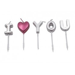 bougie - I LOVE YOU - argent