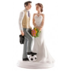 "figurine couple de mariés ""football"" - 20cm"