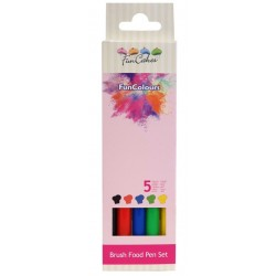 set of 5 brush food (black, red, blue, green and yellow) FunColours de Funcakes