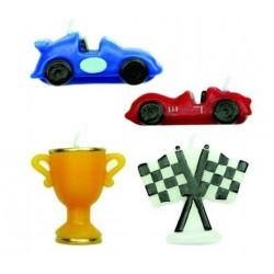 4 bougies voitures de course - 4.5 cm