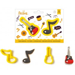"set 2 cookie cutter ""note of music and guitar"" - Decora"