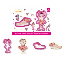 "set 2 cookie cutter ""ballerina and dancing shoe"" - Decora"