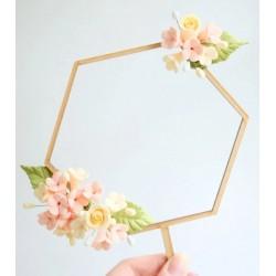 topper hexagone en bois pour guirlande florale - Sweet Stamp Amycakes
