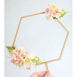wood garland floral frame hexagon - Sweet Stamp Amycakes