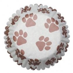 caissettes à cupcake  papier - empreinte de pattes - 54pcs - 4.5 x 3 cm - Dekora