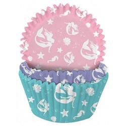 caissettes à cupcake  papier - sirène - 75pcs - 4.8 x 3 cm - Dekora