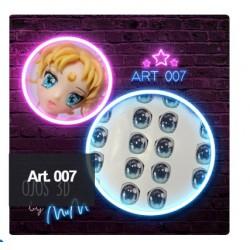 "adhesive eyes resined 3D ""M"" - 007 (Modelar un Mundo) - 12 pairs - Mariela Lopez"