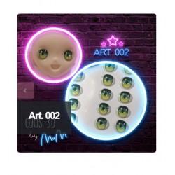 """yeux adhésifs 3D en résine """"M"""" - 002 (Valeria Marina) - 12 paires - Mariela Lopez"""